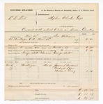 1877 November 17: Voucher, U.S. v. L.G. Keel, assault with intent to kill in Indian Country; includes cost of feeding one prisoner and mileage; James T. Goodwin, James T. Newcomb, Godrick Lyon, and Michael Gray, witnesses; served by George Williams; George Scott, guard; Stephen Wheeler, commissioner; D.P. Upham, U.S. marshal; two vouchers for the same case