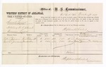 1877 November 21: Voucher, U.S. v. Samuel Larne, violating U.S. internal revenue laws; includes cost of per diem and mileage; Robert Johnson and Gabriel Junnerison, witnesses; D.P. Upham, U.S. marshal