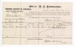 1877 December 22: Voucher, U.S. v. Moses Clay, assault with intent to kill; includes cost of per diem and mileage; George Pratt, witness; Robert J. Topping, witness of signature; D.P. Upham, U.S. marshal; Stephen Wheeler, commissioner