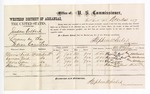 1877 December 24: Voucher, U.S. v. Jackson Colbert, larceny; includes cost of per diem and mileage; Morris Nail, Harrison Nail, Davis Logan, and William Patterson, witnesses; C.M. Barnes, witness of signatures; D.P. Upham, U.S. marshal; Stephen Wheeler, commissioner