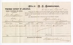 1877 December 24: Voucher, U.S. v. Jake Sumpter, violating internal revenue laws; includes cost of per diem and mileage; James English, witness; D.P. Upham, U.S. marshal; Stephen Wheeler, commissioner