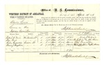1878 April 15: Voucher, U.S. v. Charles Lewis, larceny in the Indian Country; includes cost of per diem and mileage; Robert Nail, Ben Nail, Riley Reynolds, and Thomas J. Umphries, witnesses; John Paterson, witness of signatures; D.P. Upham, U.S. marshal; Stephen Wheeler, commissioner