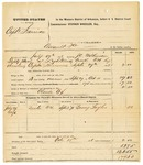 1878 October 15: Voucher, U.S. v. Captain Harrison, assault with intent to kill; includes cost of mileage, feeding one prisoner, and warrant; Bowey Taylor, witness; Claude Cox, posse comitatus; served by J.C. Wilkinson, U.S. deputy marshal