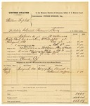 1878 October 11: Partial voucher, U.S. v. William Triplett, violating internal revenue laws in the Indian Country; includes cost of mileage, feeding one prisoner, and warrant; Claude Cox, posse comitatus; John Bevent and Nathaniel Wafford, witnesses; served by J.C. Wilkinson, U.S. deputy marshal; Stephen Wheeler, commissioner