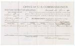 1879 April Voucher, U.S. v. Stephen Smith, violating internal revenue laws; includes cost of per diem and mileage; E. Cornelius Bondwish, witness, D.P. Upham, U.S. marshal; Stephen Wheeler, commissioner