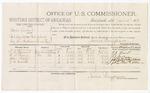 1879 April 14: Voucher, U.S. v. Sam Laruel, retail liquor dealer introducing spirituous liquor; includes cost of per diem and mileage; J.E. Beauert, L.J. Parris, John Fields, and J.W. Woods, witnesses; George S. Winston and C.M. Barnes, witness of signatures; D.P. Upham, U.S. marshal; James Brizzolara, commissioner