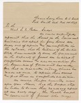 1879 November 14: Letter, to Isaac C. Parker; details the uncomfortable conditions of housing for the jurors; George E. Colite, A. Shields, J.J. Johnson, M.M. Morrow, A.L. Thompson, F.T. Hooper, Edward Harbert, Peter Sanders, G.W. Columbus, E.W. Farrion, John S. Lewis, Abner P. Woodruff, Z.W. Moody, P.D. Robertson, A.B. Nuce, and Samuel Lyon, jurors signatures