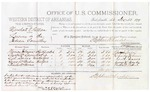 1879 December 13: Voucher, U.S. v. Marshall N. Patton, larceny in the Indian Country; includes cost of per diem and mileage; Thomas Johnson, Charles Lewis, C.A. Davis, George W. Bayley, and Charles W. Robert, witnesses; D.P. Upham, U.S. marshal; Stephen Wheeler, commissioner; William H.H. Clayton, U.S. attorney