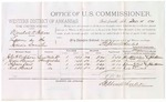 1879 December 15: Voucher, U.S. v. Marshal N. Patton, larceny; includes cost of per diem and mileage; John H. Nicholson, James Stewart, Solomon Cicil, and Rue Stewart, witnesses; John Paterson, witness of signatures; Stephen Wheeler, commissioner