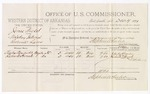 1879 December 19: Voucher, U.S. v. James Wicket, violating internal revenue laws; includes cost of per diem and mileage; Charles Alexander and Richard Herrod, witnesses; C.M. Barnes, witness of signatures; D.P. Upham, U.S. marshal; Stephen Wheeler, commissioner