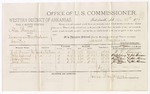 1879 December 22: Voucher, U.S. v. Alic Bemore, larceny in the Indian Country; includes cost of per diem and mileage; W.L. Brown, Polly Asburry, Peggy Rowe, and Jane Rowe, witnesses; James Paterson, witness of signatures; James Brizzolara, commissioner