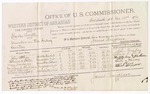 1879 December 23: Voucher, U.S. v. Charles Smith, murder in the Indian Country; includes cost of per diem and mileage; John McKay, Cathrine C. Steele, Mary Newberry, Cornelia A. Whinnery, Mark Whinnery, and Albert Skippert, witnesses; John Paterson, witness of signature; D.P. Upham, U.S. marshal; James Brizzolara, commissioner