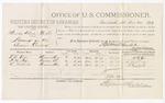 1879 December 24: Voucher, U.S. v. Mundy Roberts, et.al, larceny; includes cost of per diem and mileage; T.A. Orr, F.M. Fox, and R. Nichols, witnesses; D.P. Upham, U.S. marshal; Stephen Wheeler, commissioner
