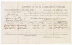 1879 December 26: Voucher, U.S. v. John Woods, larceny in the Indian Country; includes cost of per diem and mileage; Thoman J. Russell, Rose Cunningham, and Charles Foreman, witnesses; D.P. Upham, U.S. marshal; Stephen Wheeler, commissioner