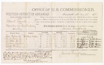 1879 December 28: Voucher, U.S. v. Albert Bunch, murder in the Indian Country; includes cost of per diem and mileage; Moses Eubanks, Laura Eubanks, Schelotta Hersh, Hudson Harlam, Maria Harlam, and George Lindsey, witnesses; John Paterson, witness of signatures; D.P. Upham, U.S. Marshal; James Brizzolara, commissioner