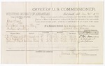 1879 December 20: Voucher, U.S. v. Gus Avery, introducing spirituous liquors in the Indian Country; includes cost of per diem and mileage; T.W. Foreman, G.A. Wofford, and John T. Drew, witnesses; D.P. Upham, U.S. marshal; James Brizzolara, commissioner
