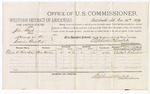 1879 December 30: Voucher, U.S. v. John Boyd, larceny in the Indian Country; includes cost of per diem and mileage; Elisha C. Roberson, witness; D.P. Upham, U.S. marshal; Stephen Wheeler, commissioner
