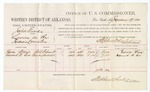 1880 January 19: Voucher, U.S. v. John Woods, larceny in the Indian Country; includes cost of per diem and mileage; Edwin Wren and Edward B. Cox, witnesses; D.P. Upham, U.S. marshal; Stephen Wheeler, commissioner