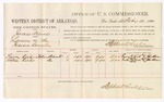 1880 February 10: Voucher, U.S. v. James Arein, larceny; includes cost of per diem and mileage; Emory Kirk and Eveline Kirk, witnesses; John Paterson, witness of signatures; D.P. Upham, U.S. marshal; Stephen Wheeler, commissioner