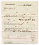 1880 June 11: Partial voucher, U.S. v. William Reeves and John Harrison, larceny in the Indian Country; includes cost of mileage, feeding two prisoners, and committing to jail; James Bailey, posse comitatus; One McCarty and Judge Murray, witnesses; J.H. Smith, U.S. deputy marshal; James Brizzolara, commissioner