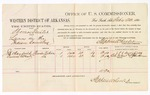 1880 February 23: Voucher, U.S. v. Thomas Gunter, larceny in the Indian Country; includes cost of per diem and mileage; J.H. Mayfield and Callis West, witnesses; John Paterson, witness of signature; D.P. Upham, U.S. marshal; Stephen Wheeler, commissioner