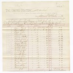 1880 June 19: Voucher, to Samuel McCloud; includes cost for subsistence furnished prisoners in U.S. jail; David Brewer, Albert Bunch, John Boyd, George Bass, Pinkney Brown, Jonas Burris, Joseph Bohanon, I.M. Cooper, Mitchel Corbitt, Tobe Colbert, Joseph Craps, John Carter, Lewis Chandler, Silas Candy, Anderson David, Daniel Davis, Samuel Dorkins, Allen Davis, James Downing, George Fields, McKey Foreman, Henry Ferry, Jordan Folsom, Thomas Goforth, J.H. Goode, Joseph Glenn, Emma Greyson, Jena Greyson, Thomas Gunter, James Haslet, Daniel Harrison, Daniel Henderson, Frank Harrington, Reuben Hodgekins, Marshal Jackson, Silas Jefferson, Jane Jackson, Lemon Johnson, Robert King, Jefferson King, Charles Lee, Nip Lewis, J.S. Lynch, Wright Lucas, John Miller, Joseph Maxfield, Thomas McAlister, Manny McGee, George McDonald, George Mowyer, Edward Morris, Reuben Neal, Isaac Owens, William Robinson, Robert Reynolds, George Robinson, John Sullivan, Lum Smith, William Silcox, Newton Schrimsher, M.A. Sorrells, Charles Smith, John Seaborn, W.T. Sellers, Lemon Tremens, William Thomas, George Worley, James Wicket, John Woods, Grandville Wagster, C.M. Woolems, and Lewis Webster, prisoners; D.P. Upham, U.S. marshal; Stephen Wheeler and G.S. Williams, clerk