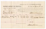 1880 March 8: Voucher, U.S. v. James Rabourn, introducing spirituous liquors into Indian Country; includes cost of per diem and mileage; Jane Davis and Daylight Davis, witnesses; John Paterson, witness of signatures; D.P. Upham, U.S. marshal; Stephen Wheeler, commissioner