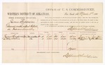 1880 March 8: Voucher, U.S. v. James Baldwin, assault with intent to kill in the Indian Country; includes cost of per diem and mileage; James Sampson and Olly Davis, witnesses; John Paterson, witness of signatures; D.P. Upham, U.S. marshal; Stephen Wheeler, commissioner