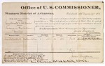 1880 March 29: Voucher, U.S. v. Henry Schoate and Bob Morris, larceny; includes cost of per diem and mileage; Lucinda MacClish, witness; John Paterson, witness of signature; D.P. Upham, U.S. marshal; George A. Grace, U.S. district attorney; James Brizzolara, commissioner
