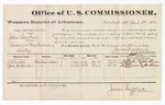1880 April 01: Voucher, U.S. v. John Harkins, larceny; includes cost of per diem and mileage; J.W. Webbs and Jim Anderson, witnesses; John Paterson, witness of signatures; D.P. Upham, U.S. marshal; James Brizzolara, commissioner