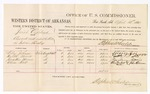 1880 April 13: Voucher, U.S. v. Josiah Copeland, assault with intent to kill in Indian Country; includes cost of per diem and mileage; Wiley Johnson, Hilda Morris, Jonathan Morris, and Alice Holt, witnesses; John Paterson, witness of signatures; D.P. Upham, U.S. marshal; Stephen Wheeler, commissioner