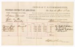 1880 April 14: Voucher, U.S. v. William Moore, rape in the Indian Country; includes cost of per diem and mileage; Nannie Sharp, Frank Sharp, Alfred H. John, and Thomas Scott, witnesses; John Paterson, witness of signatures; D.P. Upham, U.S. marshal; Stephen Wheeler, commissioner