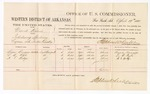 1880 April 19: Voucher, U.S. v. David Harris, introducing spirituous liquors; includes cost of per diem and mileage; Beau Burgess, L.B. Ryle, and A.T. Hodge, witnesses; D.P. Upham, U.S. marshal; Stephen Wheeler, commissioner