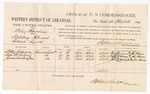 1880 April 21: Voucher, U.S. v. Willy Hawkins, violating internal revenue laws; includes cost of per diem and mileage; Wiley Anderson, Captain McGilbray, and James Washington, witnesses; John Paterson, witness of signatures; D.P. Upham, U.S. marshal; Stephen Wheeler, commissioner