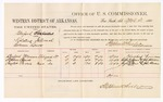 1880 April 21: Voucher, U.S. v. Bluford Sixkiller, violating internal revenue laws; includes cost of per diem and mileage; Buford Foreman, Stephen Spears, and Taylor Parris, witnesses; John Paterson, witness of signatures; D.P. Upham, U.S. marshal; Stephen Wheeler, commissioner