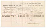1880 April 22: Voucher, U.S. v. Andrew Willis, larceny in the Indian Country; includes cost of per diem and mileage; James Cooms and Kate Chambers, witnesses; John Paterson, witness of signatures; D.P. Upham, U.S. marshal; Stephen Wheeler, commissioner