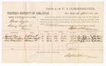 1880 April 23: Voucher, U.S. v. George Davis, selling liquor to Indians; includes cost of per diem and mileage; Josiah Vann, Charles Thompson, and Alex Sweekeller, witnesses; John Paterson, witness of signatures; D.P. Upham, U.S. marshal; Stephen Wheeler, commissioner