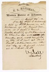 1880 August 24: Letter of oath, from N. Dell, U.S. marshal, certifying his delivery of a list of petit jurors in attendance for U.S. v. Charles Lee, murder