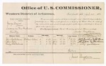 1880 April 30: Voucher, U.S. v. George Myers, larceny in the Indian Country; includes cost of per diem and mileage; John Fronterhouse, John Wells, and Sailer Fronterhouse, witnesses; John Paterson, witness of signatures; D.P. Upham, U.S. marshal; James Brizzolara, commissioner