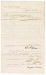 1880 May 3: Voucher, to Benjamin Cantrell; includes cost of one load of hay for use as bedding for U.S. prisoners; Charles Burns, jailor; D.P. Upham, U.S. marshal; Stephen Wheeler, clerk