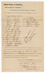 1880 June 19: Jury venire facias, writ for summoning new jury; Frank Parke, Ernest Speaker, William Roller, Frank Freer, William Henderson, H.G. Jordan, S.M. Hamilton, Granville Brewsharr, Samuel Howell, Henry Hynch, A.S. Fowler, Henry Nathan, George R. Horton, Jackson Dongherty, Slethen Green, J. Gibson, P. Develin, Charles A. Birrie, William Birrie, Spencer Bell; Isaac C. Parker, judge; Stephen Wheeler and G.S. Williams, clerks; D.P. Upham, U.S. marshal; C.M. Barnes, U.S. deputy marshal