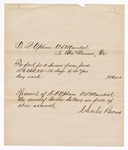 1880 June 26: Voucher, to Charles Burns from D.P. Upham, U.S. marshal, includes cost of feed for two horses; Voucher, U.S. v. [miscellaneous goods], includes costs of various fees pertaining to case; John Paterson, U.S. deputy marshal