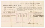 1880 June 28: Voucher, U.S. v. Alex Mahardy, introducing spirituous liquors into Indian Country; includes cost of per diem and mileage; Anderson Butler and Lizzie Butler, witnesses; John Paterson, witness of signatures; D.P. Upham, U.S. marshal; Stephen Wheeler, commissioner