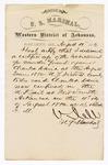 1880 August 3: Letter of certification, from V. Dell, U.S. marshal, certifying his deliverance of list of petit jurors for U.S. v. Charles Davis, murder