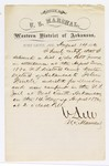 1880 August 14: Letter of certification, from V. Dell, U.S. marshal, certifying his deliverance of list of petit jurors for U.S. v. John Frinch, murder