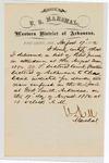 1880 August 17: Letter of certification, from V. Dell, U.S. marshal, certifying his deliverance of list of petit jurors for U.S. v. Charles Davis, murder