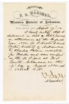 1880 August 17: Letter of certification, from V. Dell, U.S. marshal, certifying his deliverance of list of petit jurors for U.S. v. Charles Palmer, murder