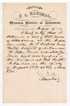 1880 August 19: Letter of certification, from V. Dell, U.S. marshal, certifying his deliverance of list of petit jurors for U.S. v. John Finch, murder