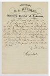 1880 August 19: Letter of certification, from V. Dell, U.S. marshal, certifying his deliverance of list of petit jurors for U.S. v. M.R. Pickens, murder
