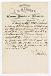 1880 August 19: Letter of certification, from V. Dell, U.S. marshal, certifying his deliverance of list of petit jurors for U.S. v. Marion Taylor, rape